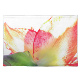 Red Gold Green Amaryllis Abstract Cloth Placemat