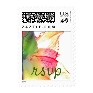 Red Gold Green Amaryllis Abstract RSVP Stamp