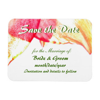Red Gold Green Amaryllis Abstract Save the Date Magnet