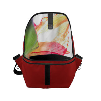 Red Gold Green Amaryllis Abstract Small Messenger Bag