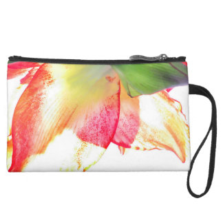 Red Gold Green Amaryllis Abstract Suede Wristlet