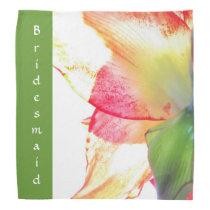 Red Gold Green Amaryllis Abstract Wedding Bandana