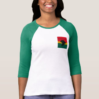 Red Gold Green Black Africa Crochet Print Raglan T-Shirt