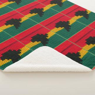 Red Gold Green Black Africa Map Crochet Print on Sherpa Blanket
