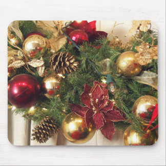 Red,Gold & Green Holiday Decorations Mouse Pad
