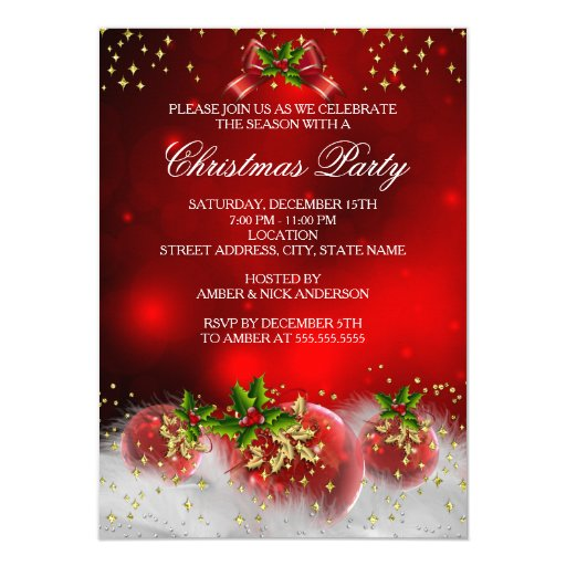 Red Gold Green Holly Christmas Holiday Party 4.5x6.25 Paper Invitation Card