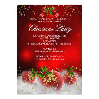 Red Gold Green Holly Christmas Holiday Party Card at Zazzle