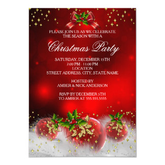 Red Gold Green Holly Christmas Holiday Party Card