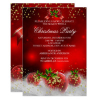 Red Gold Green Holly Christmas Holiday Party Invitation