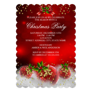 Red Gold Green Holly Snow White Christmas Party Card