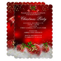 Red Gold Green Holly Snow White Christmas Party Invitation