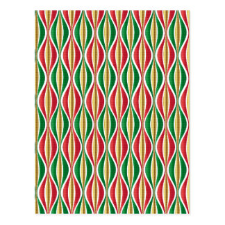Red Gold Green Waves Postcard