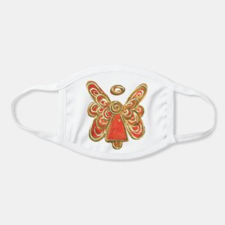 Red Gold Guardian Angel Art Custom Face Mask