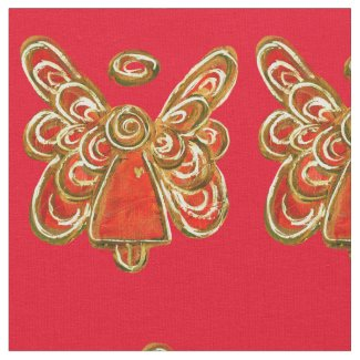 Red Gold Guardian Angel Art Fabric Material
