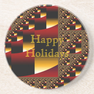 Red & Gold Happy Holidays Coaster