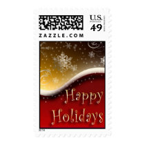 Red & Gold Happy Holidays postage