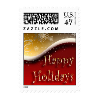 Red & Gold Happy Holidays postage -