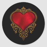 Red Gold Heart Wedding Favor Labels Stickers