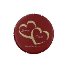 Red & Gold Hearts Custom Wedding Candy Tin at Zazzle
