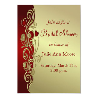 Red & Gold Hearts & Scrolls Bridal Shower Card
