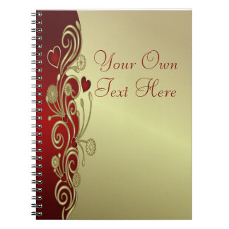 Red & Gold Hearts & Scrolls Notebook