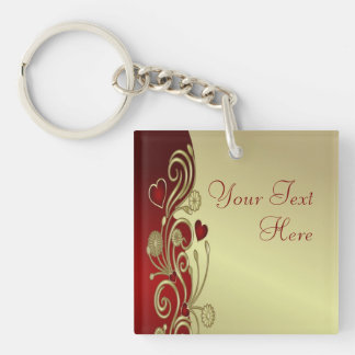 Red & Gold Hearts & Scrolls Single-Sided Square Acrylic Keychain