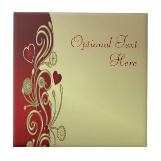 Red & Gold Hearts & Scrolls Ceramic Tiles