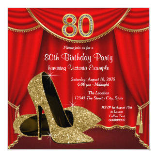 Red Gold High Heel 80th Birthday Party Card