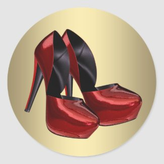 Red Gold High Heel Shoe Stickers