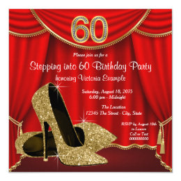 Red Gold High Heel Stepping into 60 Birthday Party Card