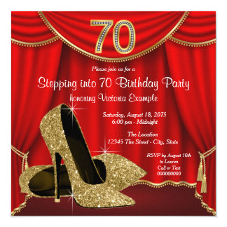 Red Gold High Heel Stepping into 70 Birthday Party Card