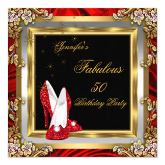 Red Gold High Heels Black Fabulous Birthday Party Card