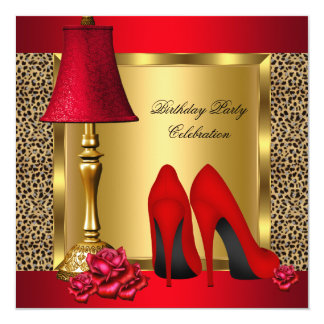 Red Gold High Heels Roses Wild Birthday Party Card