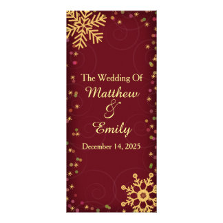 Red Gold Holiday Snowflakes Wedding Program