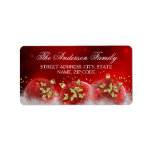 Red & Gold Holly Baubles Christmas Address Labels