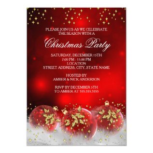 Red Gold Holly Baubles Christmas Holiday Party Card at Zazzle