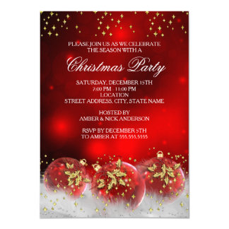 Christmas party invitations zazzle red gold holly baubles christmas holiday party card stopboris Choice Image