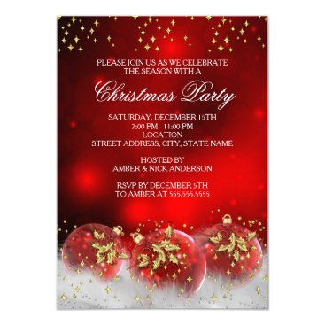 Christmas Themed Red Gold Holly Baubles Christmas Holiday Party Card