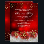 "Red Gold Holly Baubles Christmas Holiday Party Invitation<br><div class=""desc"">Christmas Holiday Party Invitation. Corporate Xmas Party. Elegant gold &amp; red holly leaf baubles with gold sparkle glitter and snow. Please Note: All flat images!</div>"
