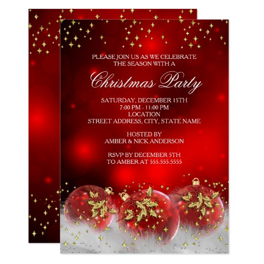 Christmas Invitation.Red Gold Holly Baubles Christmas Holiday Party Invitation