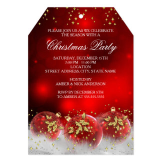 Red Gold Holly Baubles Christmas Holiday Party 5x7 Paper Invitation Card