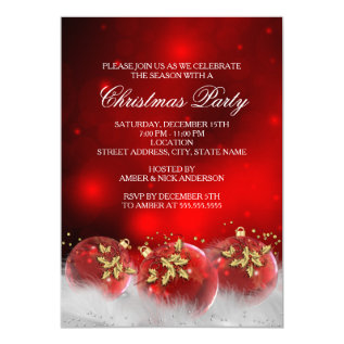 Red Gold Holly Baubles Christmas Party Invite at Zazzle