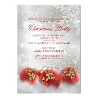Red & Gold Holly Baubles Christmas Party Invite at Zazzle