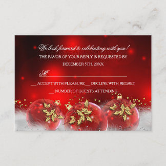 Red Gold Holly Baubles Christmas Party RSVP
