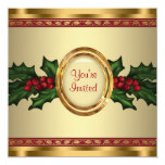 Red Gold Holly Corporate Christmas Party Personalized Announcements