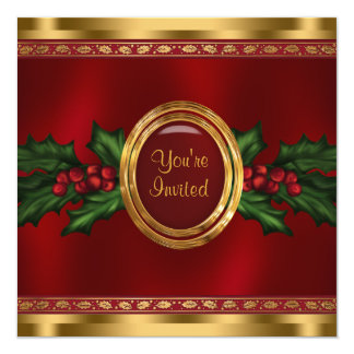 Red Gold Holly Corporate Christmas Party 5.25x5.25 Square Paper Invitation Card