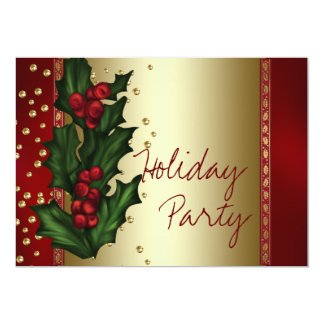 Red Gold Holly Corporate Christmas Party 5x7 Paper Invitation Card