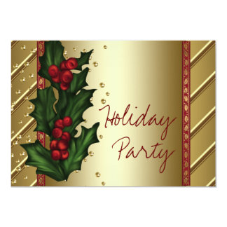 Red Gold Holly Corporate Holiday Party Card