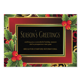 Red Gold Holly Elegant Corporate Christmas Card
