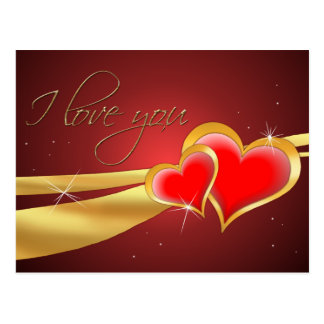 RED & GOLD I LOVE YOU HEARTS  by SHARON SHARPE Post Card